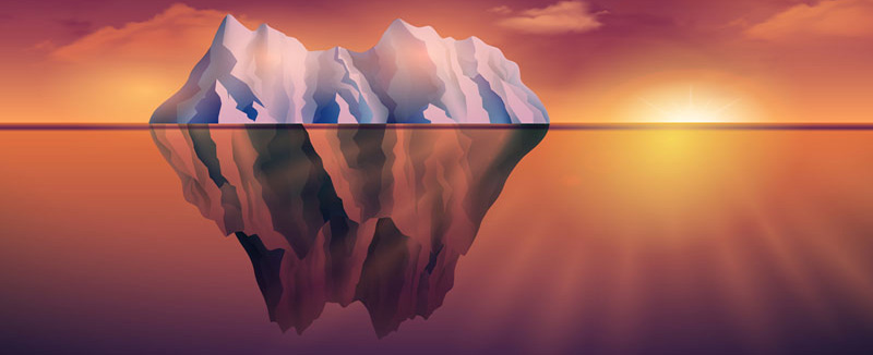 Northern sea landscape with iceberg and sunset on background vector illustration